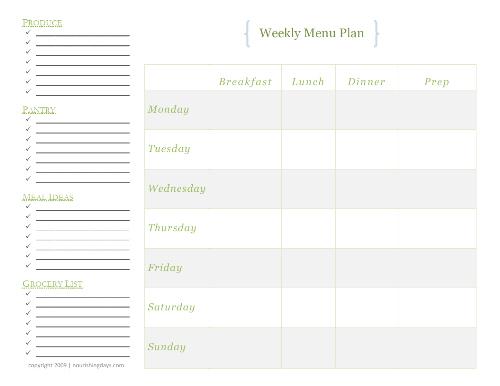 My Summer Menu Planning System
